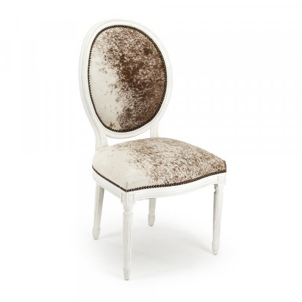 Zentique Medallion Cowhide Side Chair