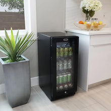 Load image into Gallery viewer, Whynter Built-in Black Glass 80-can capacity 3.4 cu ft. Beverage Refrigerator