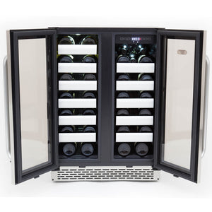 Whynter Elite 40 Bottle Seamless Stainless Steel Door Dual Zone Built-in Wine Refrigerator