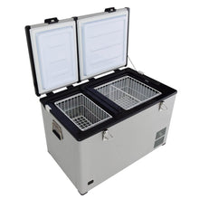 Load image into Gallery viewer, Whynter 90 Quart Dual Zone Portable Fridge/ Freezer with 12v Option and Wheels