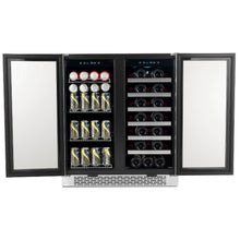 Load image into Gallery viewer, Whynter 30″ Built-In French Door Dual Zone 33 Bottle Wine Refrigerator 88 Can Beverage Center