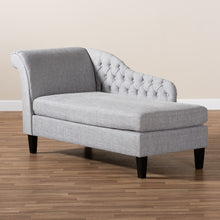 Load image into Gallery viewer, Baxton Studio Florent Modern  and  Contemporary  Grey Fabric Upholstered  Black Finished Chaise Lounge