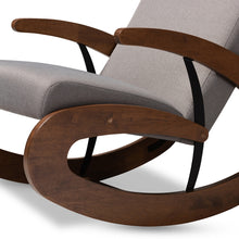 Load image into Gallery viewer, BAXTON STUDIO KAIRA MODERN AND CONTEMPORARY GRAY FABRIC UPHOLSTERED AND WALNUT-FINISHED WOOD ROCKING CHAIR