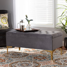 Load image into Gallery viewer, Baxton Studio Valere Glam and Luxe Grey Velvet Fabric Upholstered Gold Finished Button Tufted Storage Ottoman