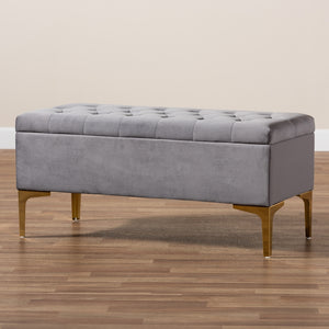 Baxton Studio Valere Glam and Luxe Grey Velvet Fabric Upholstered Gold Finished Button Tufted Storage Ottoman