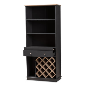 Baxton Studio Mattia Modern and Contemporary Dark Grey and Oak Finished Wood Wine Cabinet