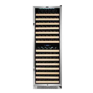Whynter 164 Bottle Built-in Stainless Steel Dual Zone Compressor Wine Refrigerator with Display Rack and LED display