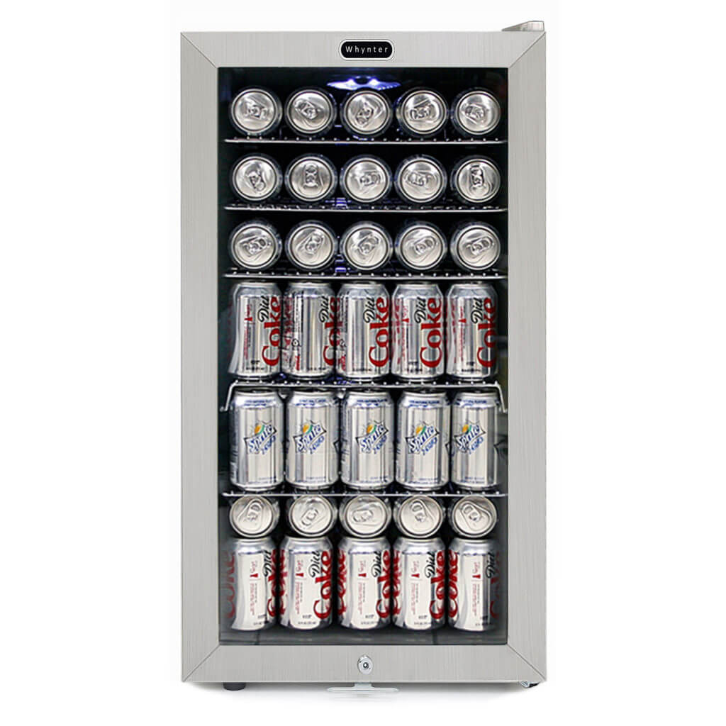 Whynter Beverage Refrigerator With Lock - Stainless Steel 120 Can Capacity