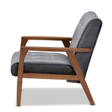 Load image into Gallery viewer, BAXTON STUDIO ASTA MID-CENTURY MODERN GREY VELVET FABRIC UPHOLSTERED WALNUT FINISHED WOOD ARMCHAIR