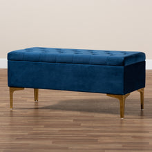 Load image into Gallery viewer, Baxton Studio Valere Glam and Luxe Navy Blue Velvet Fabric Upholstered Gold Finished Button Tufted Storage Ottoman