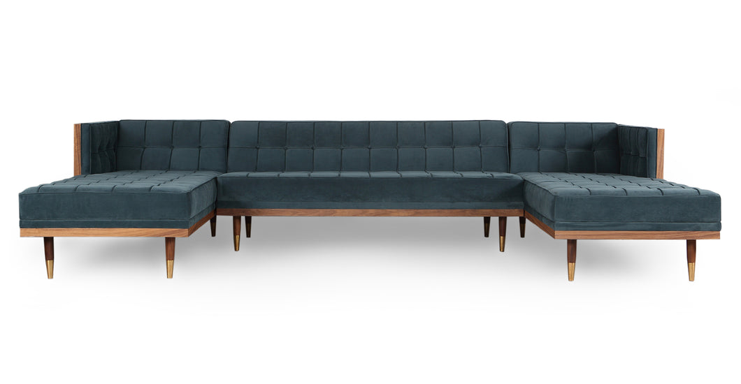 Kardiel Woodrow Midcentury Modern Box Sofa U-Shaped Chaise Sectional, Neptune Velvet/Walnut