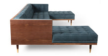 Load image into Gallery viewer, Kardiel Woodrow Midcentury Modern Box Sofa U-Shaped Chaise Sectional, Neptune Velvet/Walnut