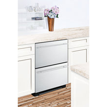 "Load image into Gallery viewer, Summit 24"" Wide 2-Drawer Refrigerator-Freezer With Icemaker"