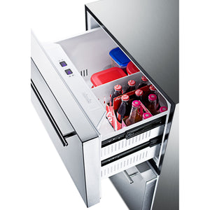 "Summit 24"" Wide 2-Drawer Refrigerator-Freezer With Icemaker"