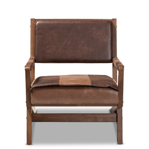 Baxton Studio Rovelyn Rustic Brown Faux Leather Upholstered Walnut Finished Wood Lounge Chair