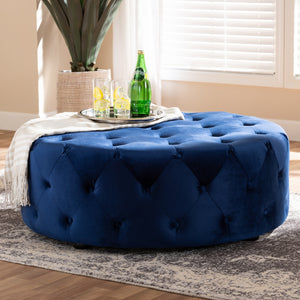 Baxton Studio Cardiff Transitional Royal Blue Velvet Fabric Upholstered Button Tufted Cocktail Ottoman