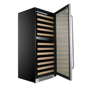 Whynter 92 Bottle Built-in Stainless Steel Dual Zone Compressor Wine Refrigerator with Display Rack and LED display