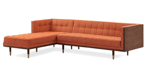 Woodrow Box Sofa Sectional Left, Walnut/Tangerine