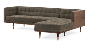Woodrow Box Sofa Sectional Right, Walnut/Tarragon