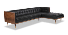 Load image into Gallery viewer, Kardiel Woodrow Midcentury Modern Box Sofa Sectional Right, Black Aniline Leather/Walnut
