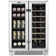 Load image into Gallery viewer, Whynter 24″ Built-In French Door Dual Zone 20 Bottle Wine Refrigerator 60 Can Beverage Center