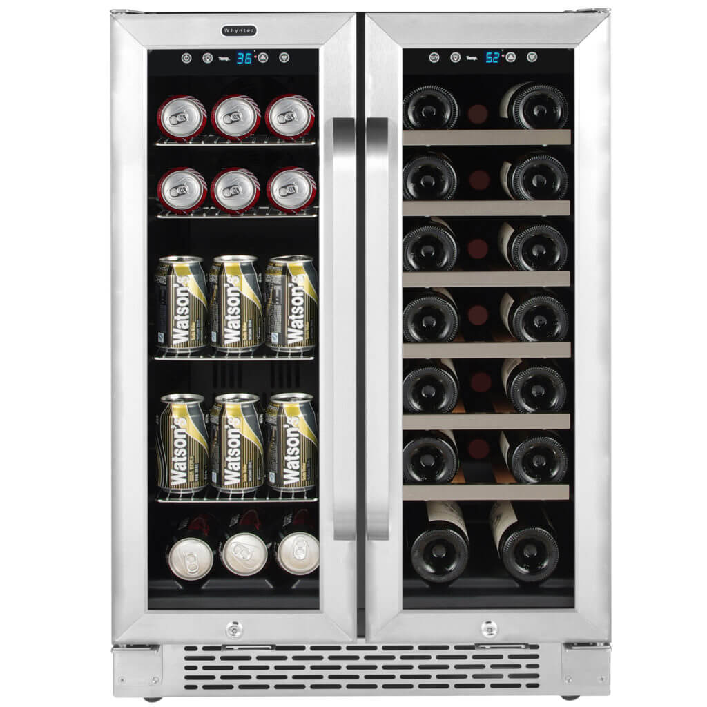 Whynter 24″ Built-In French Door Dual Zone 20 Bottle Wine Refrigerator 60 Can Beverage Center