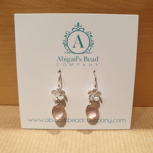 925 Poppy Hooks & Rose Quartz Drop Earrings - AE236