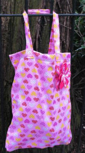 Pink Hearts Print Tote Shopping Bag - Miss Pretty London UK Limited