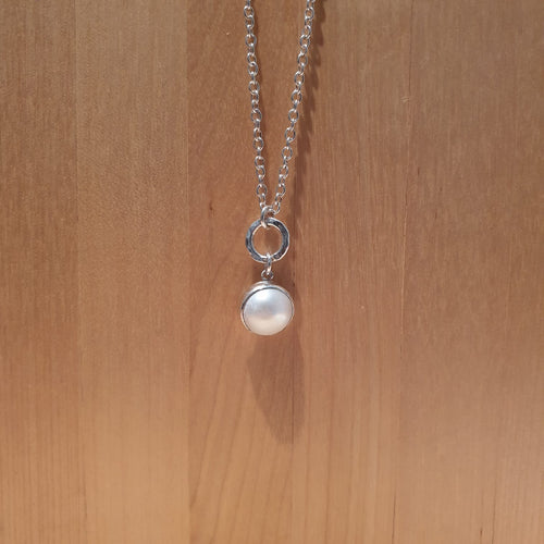 Sterling Silver Hammered Hoop & Pearl Coin Drop Necklace - AN112