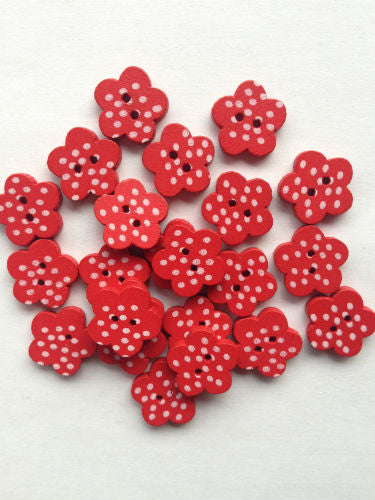 Red__Wooden_Dotty_Flower_Buttons_-_15mm