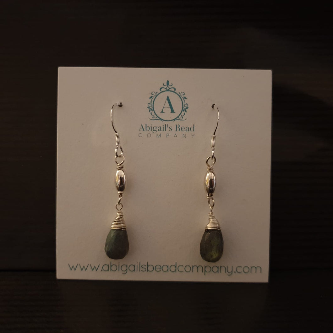 Wire Wrapped Labradorite & Sterling Silver 925 Earrings - AE176 - Miss Pretty London UK Limited