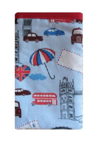 Blue London Print Mobile Phone Sock Pouch - Miss Pretty London UK Limited