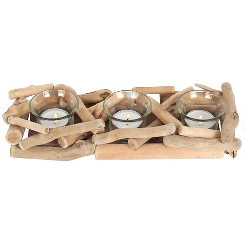 3PC DRIFTWOOD CANDLE HOLDER