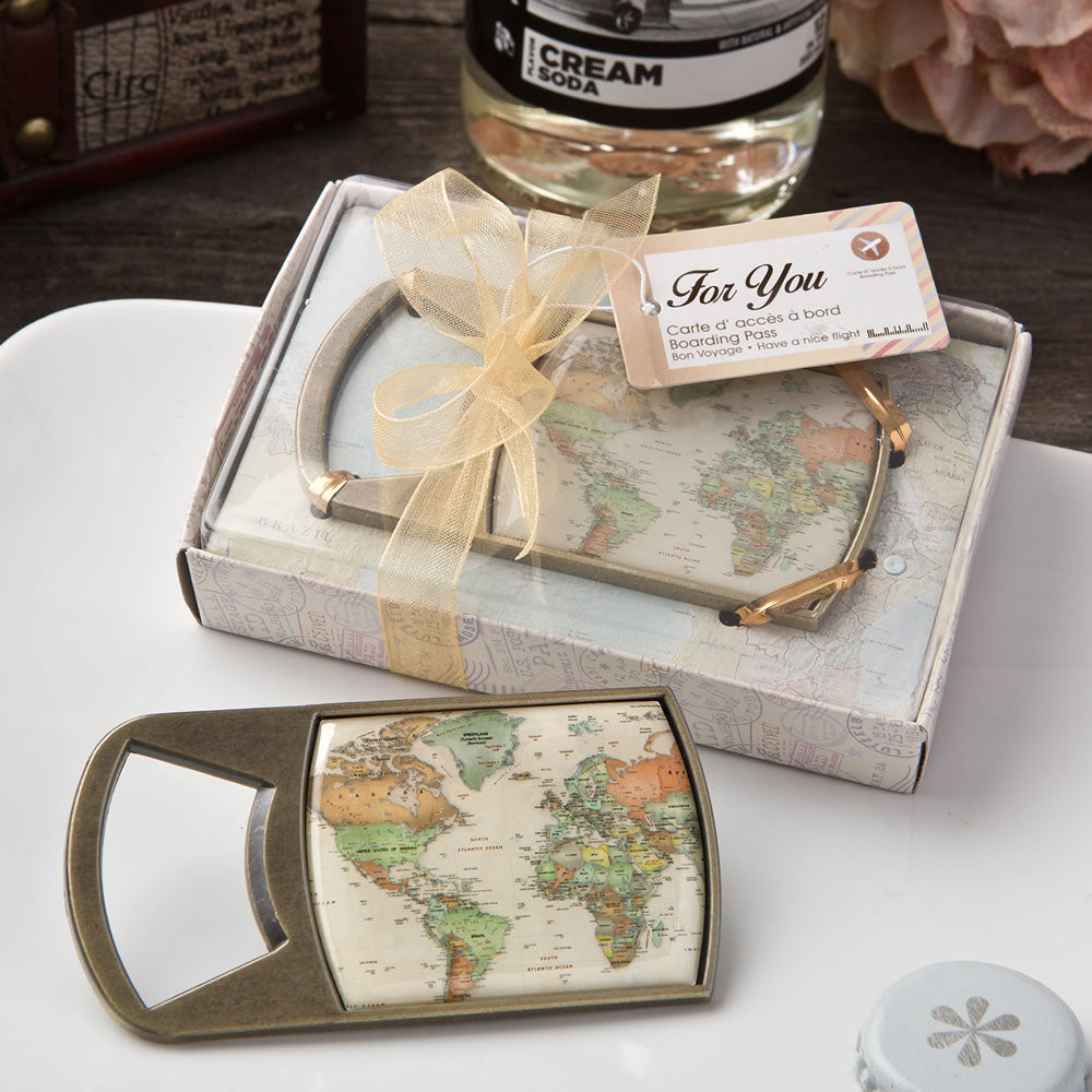 Vintage travel themed map design metal bottle opener from Solefavors