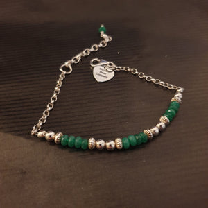 Green Jade & Sterling Silver 925 Bracelet - AB231 - Miss Pretty London UK Limited