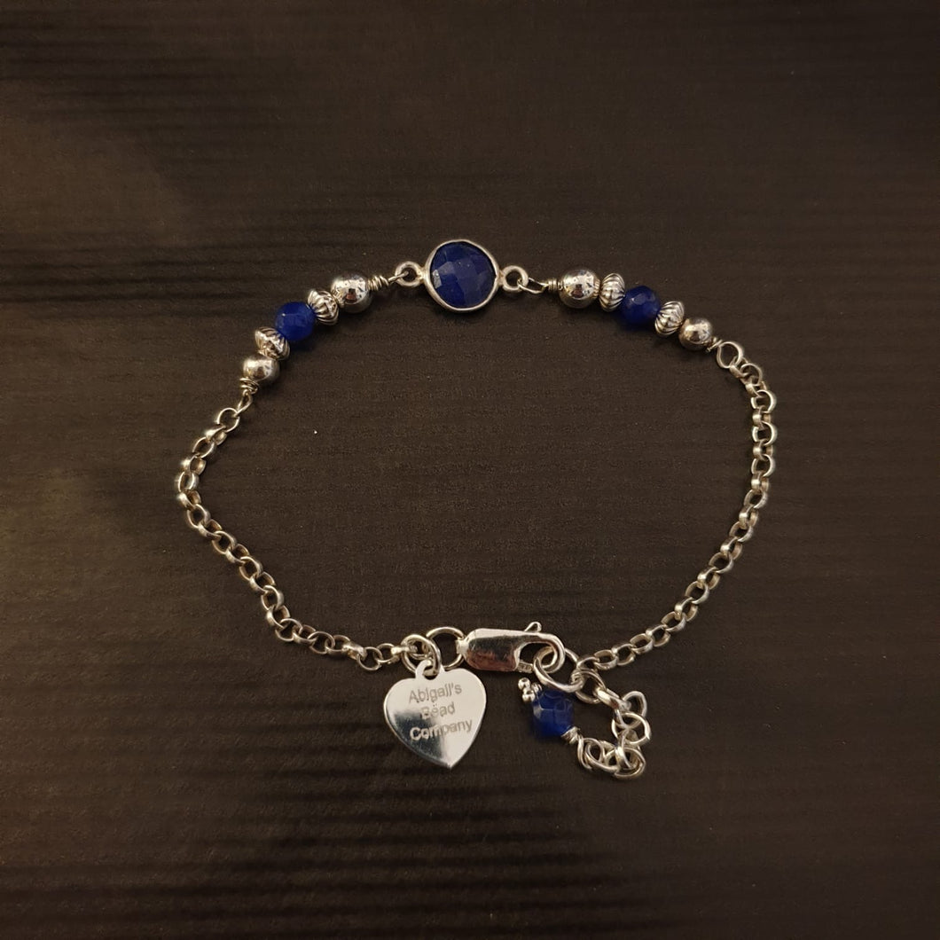 Lapis Lazuli & Sterling Silver 925 Bracelet - AB229 - Miss Pretty London UK Limited