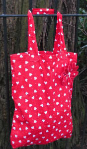 Light Red Hearts Print Tote Shopping Bag