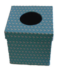 Aqua Blue Flamingo Blue Daisy Print Tissue Box