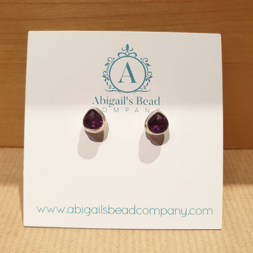 Amethyst Pear Faceted Bezel Set Stud Earrings - AE226