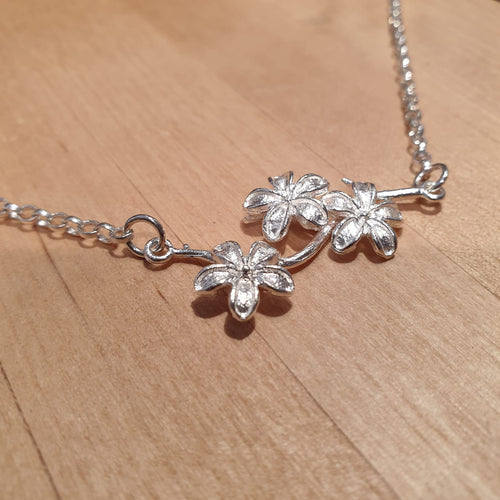 Sterling Silver Floral Branch Connector & Chain Necklace - AN189