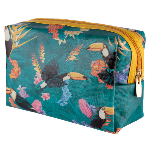 Handy PVC Make Up Toiletry Wash Bag - Tropical Toucan Design