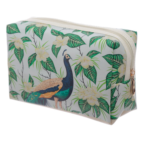 Handy PVC Make Up Toiletry Wash Bag - Peacock