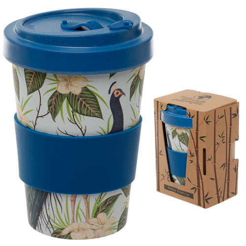 Bamboo Eco Friendly Peacock Design Screw Top Travel Mug