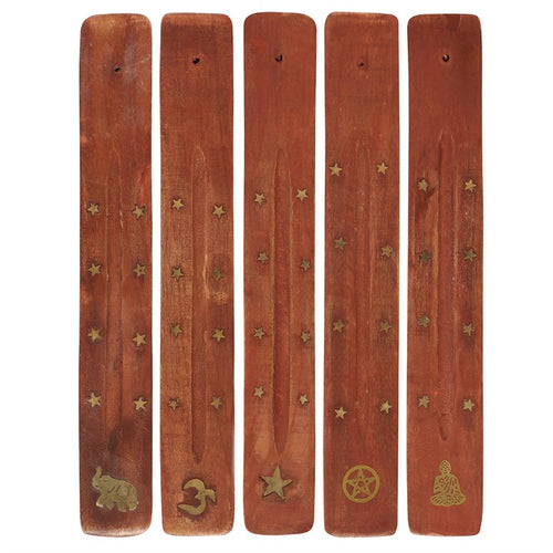 BASIC WOODEN INCENSE HOLDER WITH INLAY