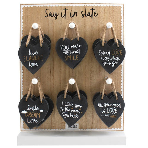 SLATE HEART HANGING DECORATIONS