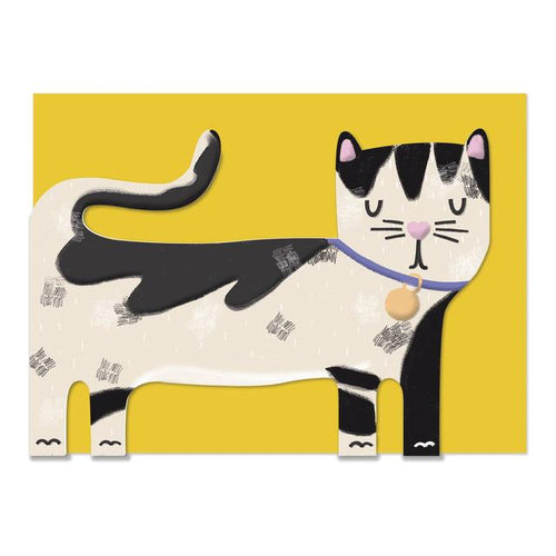 Black and White Cat Greeting Card - RBL016 - Miss Pretty London UK Limited