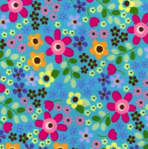 Retro Blue Flowers Cotton Craft Fabric