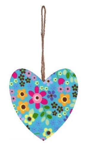 Blue_Retro_Flowers_Print_Plump_Fabric_Hanging_Heart