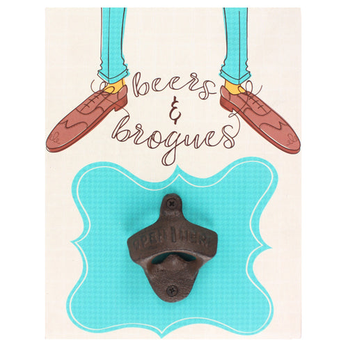Beers & Brogues Bottle Opener Plaque - Miss Pretty London UK Limited