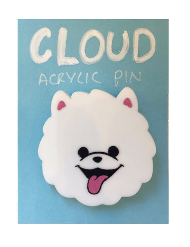 Cloud Dog Wooden Brooch Badge - Miss Pretty London UK Limited